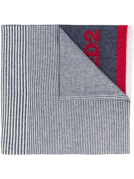 Dsquared2 contrast panel logo knit scarf in blue