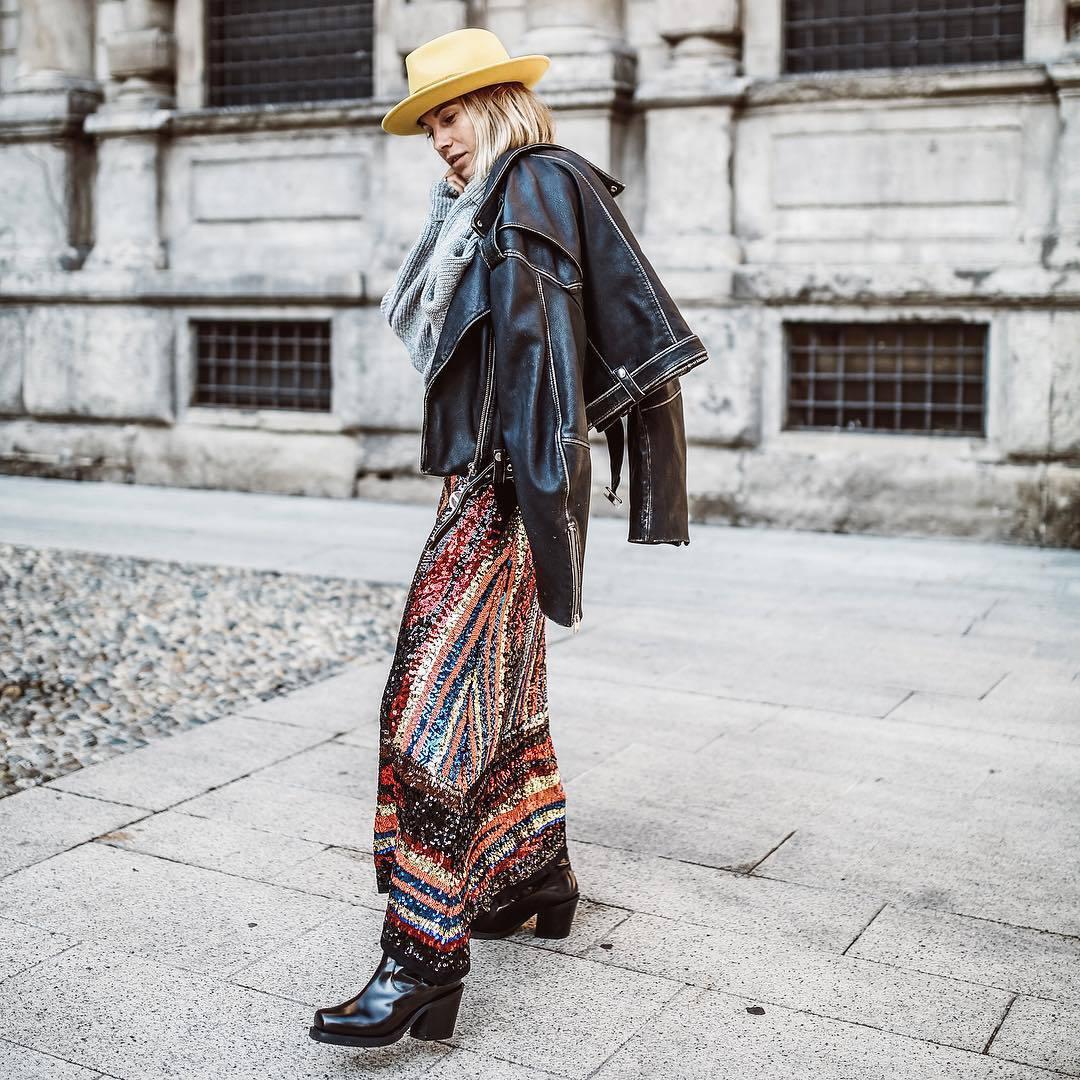skirt maxi skirt sequin skirt zara black boots black leather jacket grey sweater hat