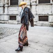 skirt,maxi skirt,sequin skirt,zara,black boots,black leather jacket,grey sweater,hat