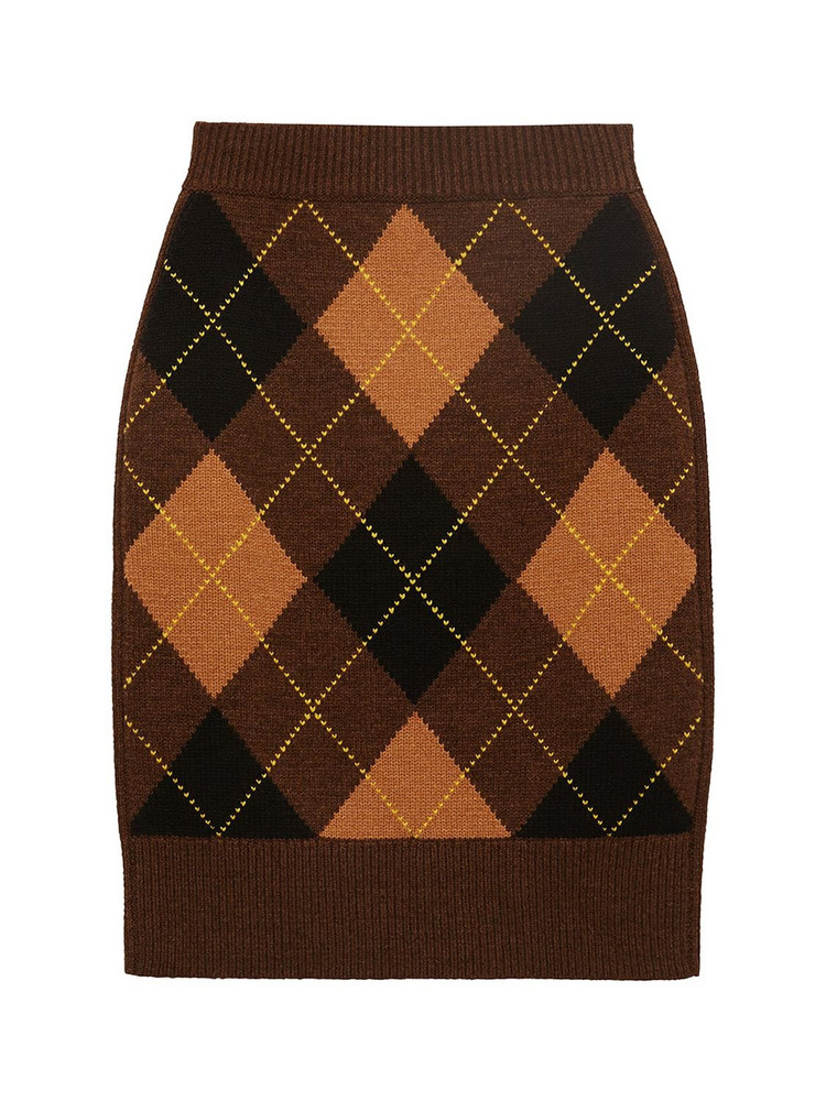 BURBERRY Ayla Wool & Cashmere Knit Skirt in brown