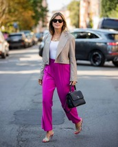 jacket,blazer,cropped,sandal heels,high waisted pants,white top,black bag