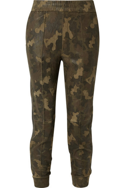 SPRWMN - Leather-trimmed Camouflage-print Suede Track Pants - Army green