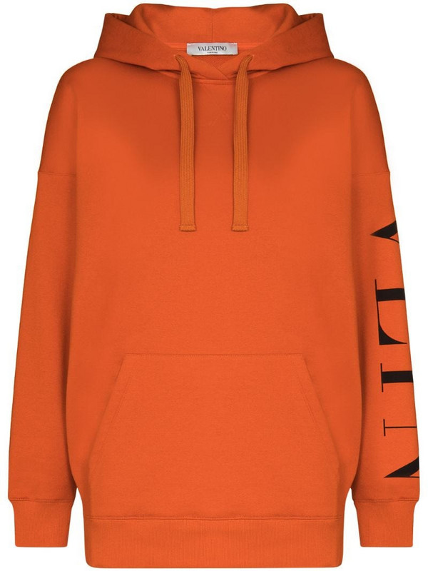 Valentino logo-print long-sleeve hoodie in orange