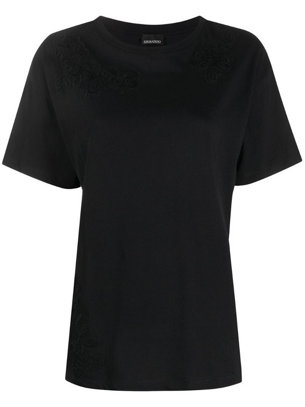 Ermanno Ermanno lace embroidered T-shirt in black