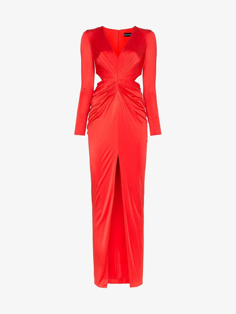 Haney Erin Deep V Cutout Waist Maxi Dress in red