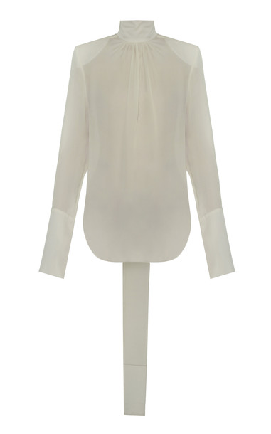 Aleksandre Akhalkatsishvili Structured Shoulders Silk Blouse in white