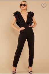 jumpsuit,black,ruffle