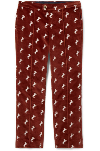Chloé Kids - Ages 6 - 12 Embroidered Cotton-velvet Pants in brown