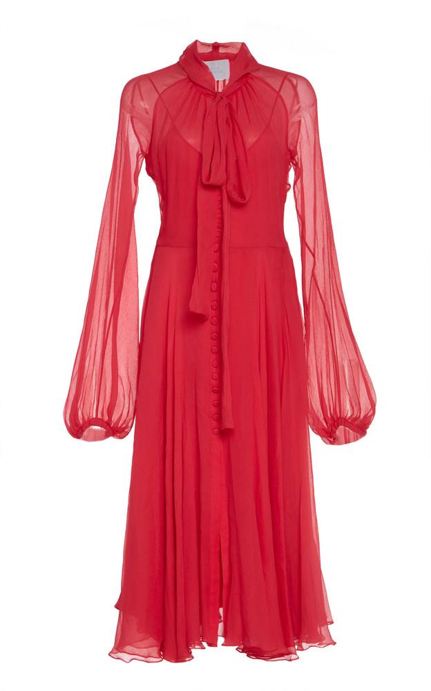 Luisa Beccaria Pussy-Bow Silk-Chiffon Midi Dress Size: 38 in pink