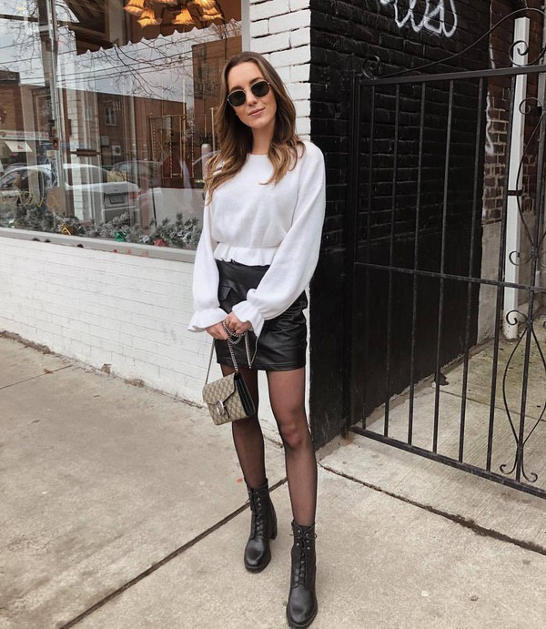 skirt mini skirt black skirt high waisted skirt leather skirt black boots lace up boots tights bag white sweater
