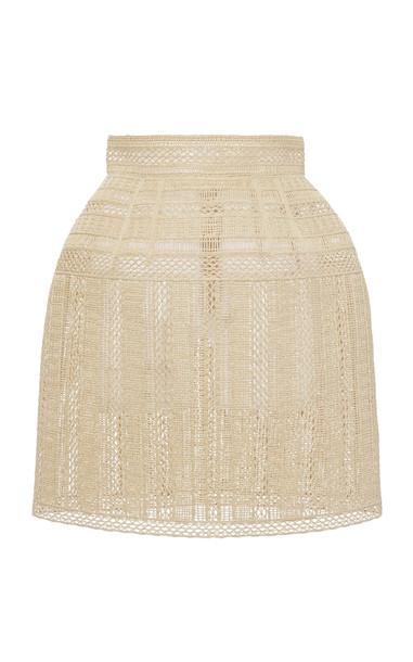 Dolce & Gabbana Pointelle-Trimmed Mini Skirt Size: 36 in neutral