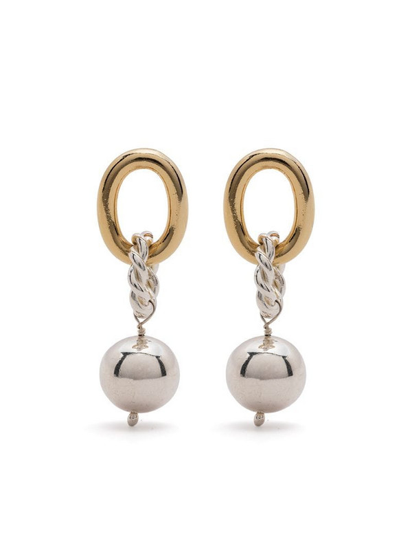 Isabel Lennse mixed-tone drop earrings in silver