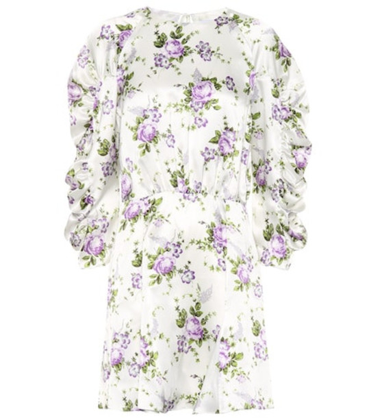 Les Rêveries Floral silk minidress in white