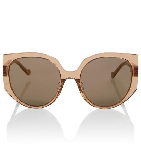 LOEWE Logo-detailed round sunglasses in brown