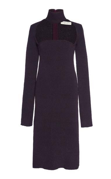 Bottega Veneta Cutout Turtleneck Stretch-Wool Crepe Midi Dress in navy