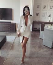 dress,white deep v neck long sleeve dress