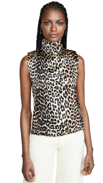 GANNI Silk Stretch Satin Blouse in leopard
