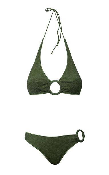 Oseree Embellished Stretch-Lurex Bikini Set in green
