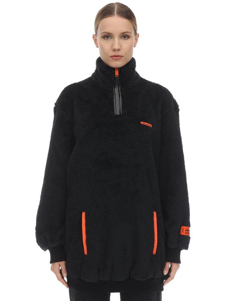 HERON PRESTON Oversize Fire Techno Teddy Jacket in black