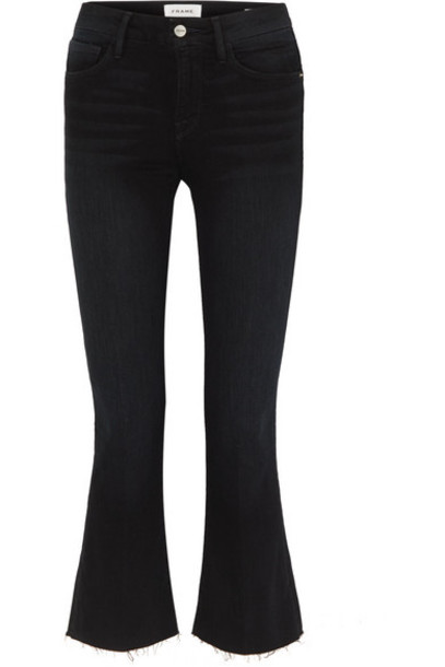 FRAME - Le Crop Mini Boot Frayed High-rise Jeans - Black