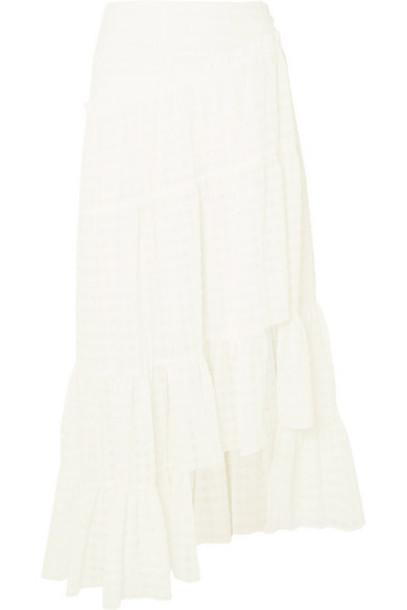 3.1 Phillip Lim - Asymmetric Tiered Seersucker Skirt - White