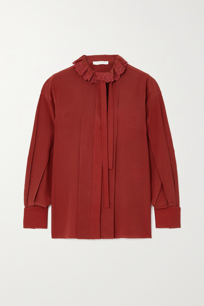 CHLOÉ CHLOÉ - Pussy-bow Embroidered Ruffled Silk-crepe Blouse - FR40 in red