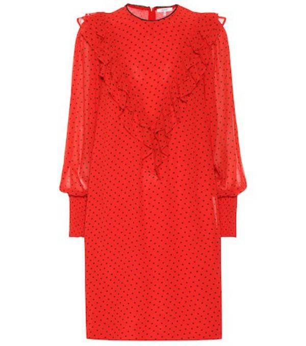 Ganni Polka-dot georgette dress in red