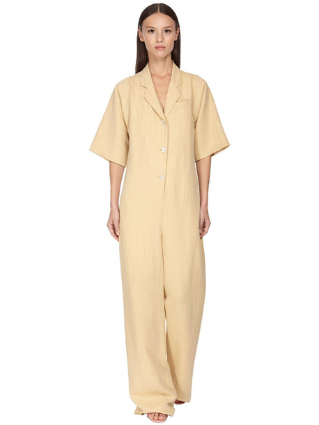 SALVATORE FERRAGAMO Buttoned Linen & Viscose Jumpsuit in beige
