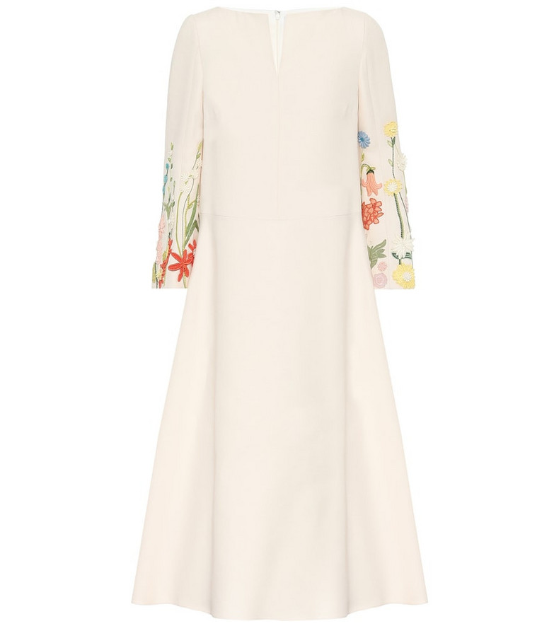 Valentino Embroidered wool-blend midi dress in white