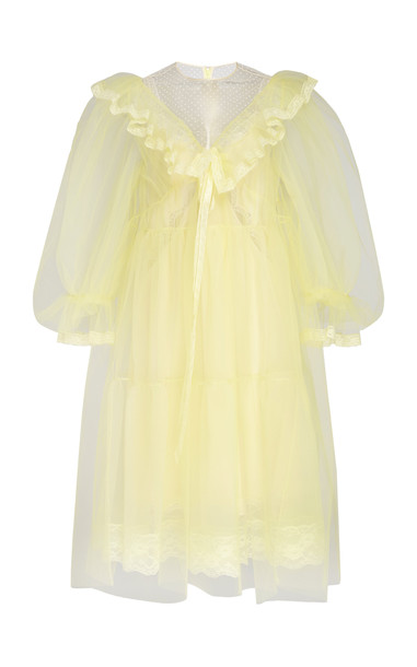 Marc Jacobs Crinkled Ruffled Organza Dress Size: 14 in yellow