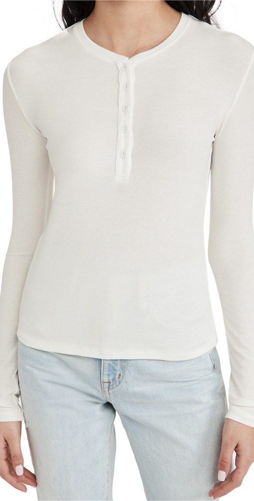 L'AGENCE Faith Henley Tee in white