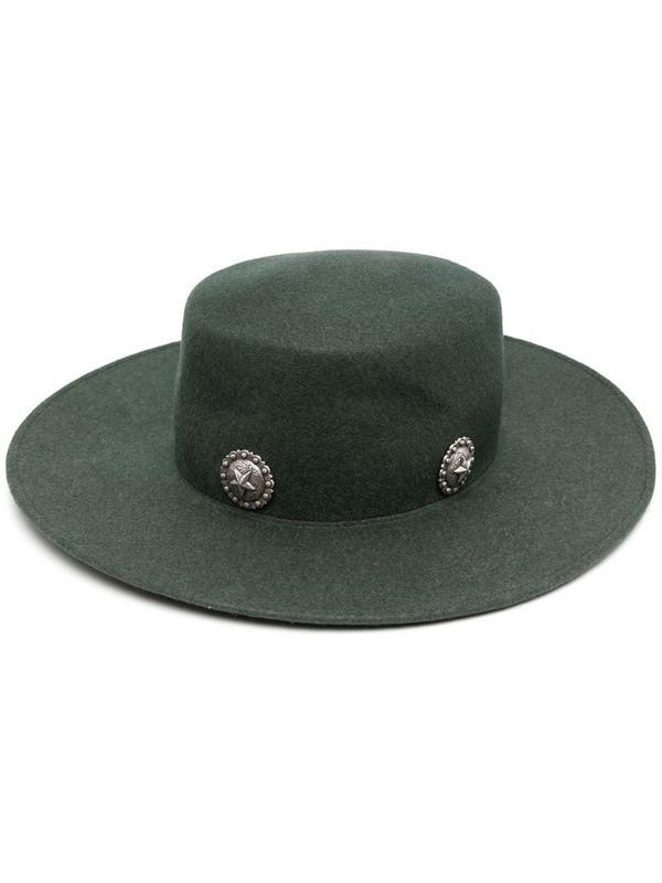Kate Cate Caballera stud-embellished fedora hat in green