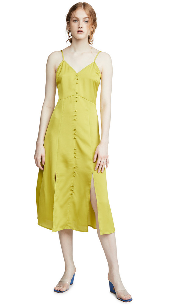 J.O.A. J.O.A. Slip Midi Dress in green / yellow