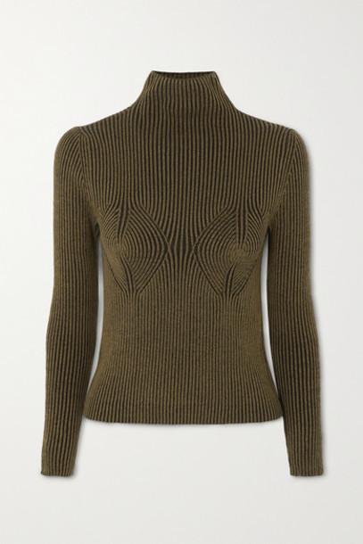 Mara Hoffman - Mida Ribbed Stretch-modal Turtleneck Sweater - Army green