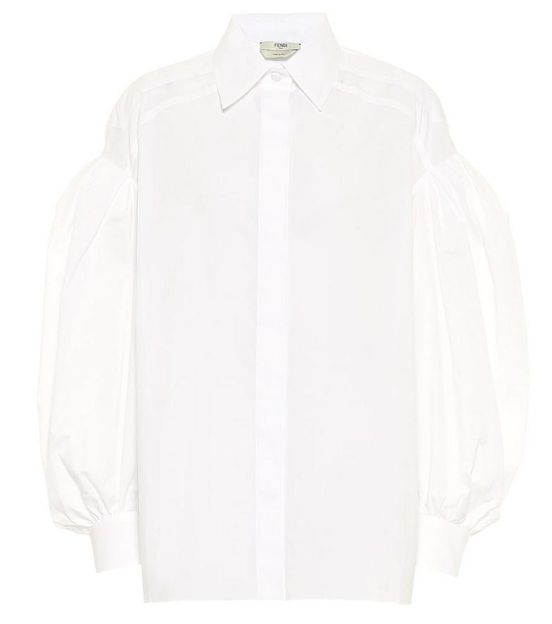 Fendi Cotton poplin shirt in white
