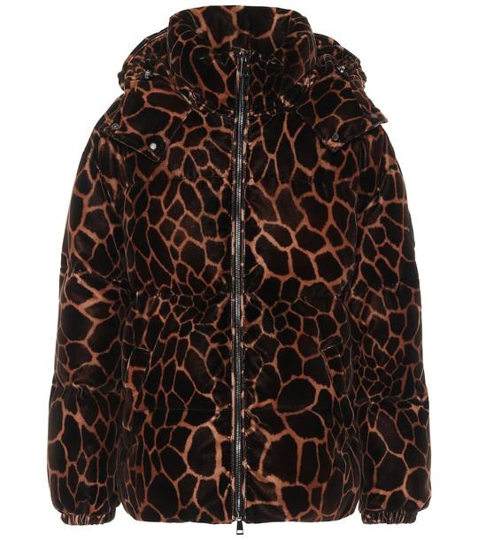 Moncler Kundogi velvet down jacket in brown