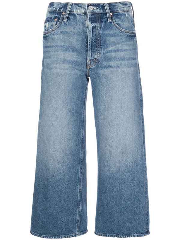 Mother Tomcat cropped straight-leg jeans in blue