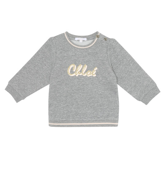 Chloé Kids Baby logo cotton-blend sweatshirt in grey