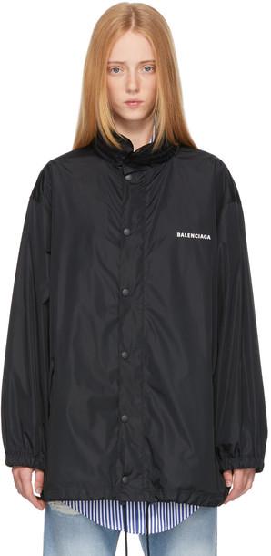 Balenciaga Black 'This Is Not The New Logo' Rain Jacket