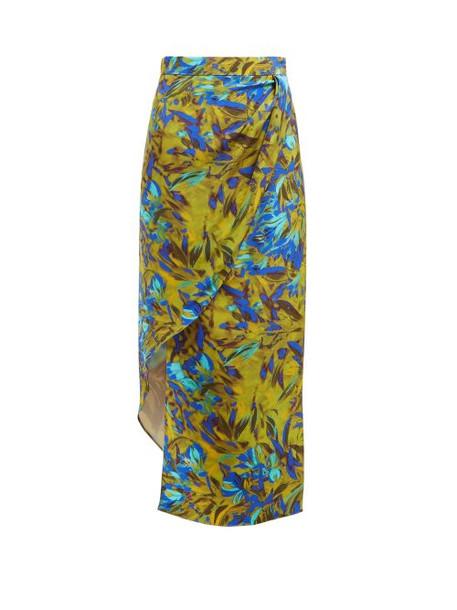 Raey - Asymmetric Uv Floral Print Silk Skirt - Womens - Blue Print