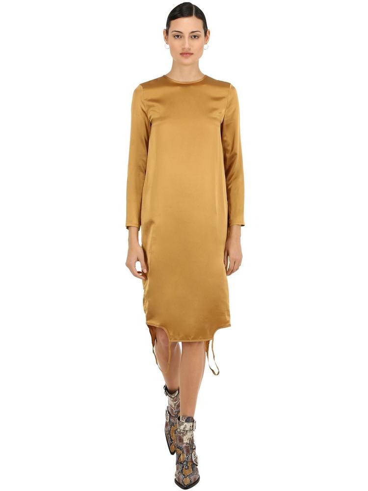 MARQUES'ALMEIDA Twisted Silk Satin Dress in gold
