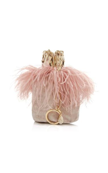 Rosantica Aramis Feather-Trimmed Velvet Bag in pink