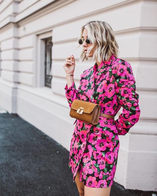 jacket blazer blazer dress floral dress belt bag