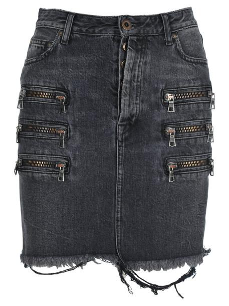 Ben Taverniti Unravel Project Unravel Zip-detail Distressed Denim Skirt