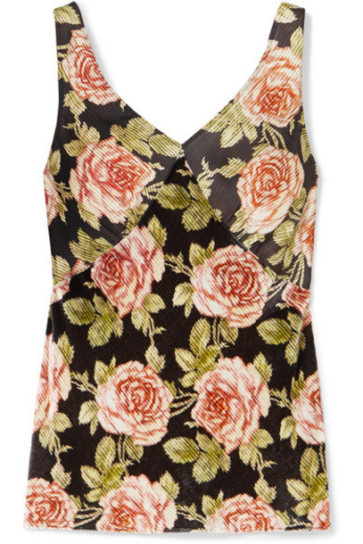 Paco Rabanne - Floral-print Velvet And Satin Camisole - Red