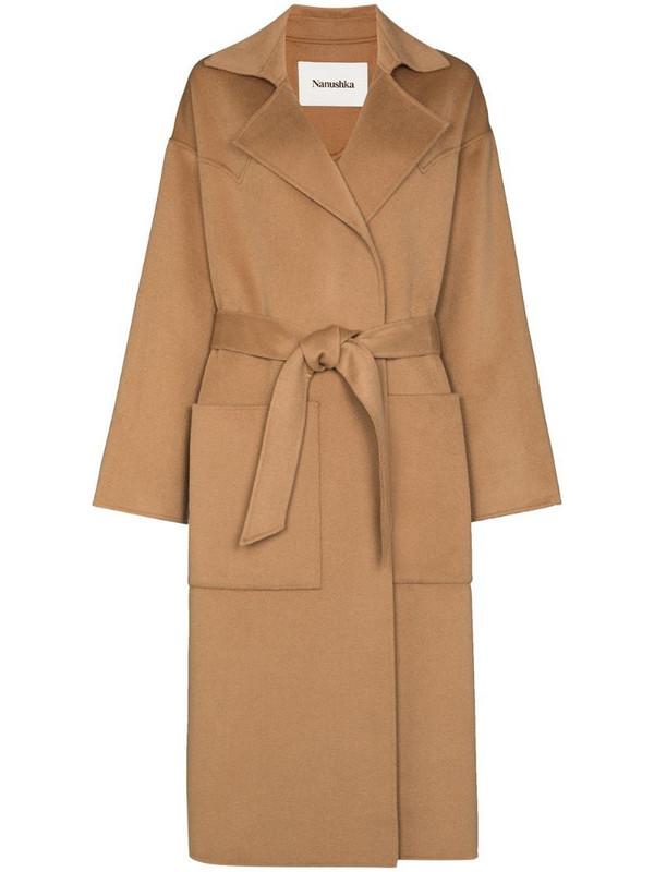 Nanushka Alamo belted midi coat in brown