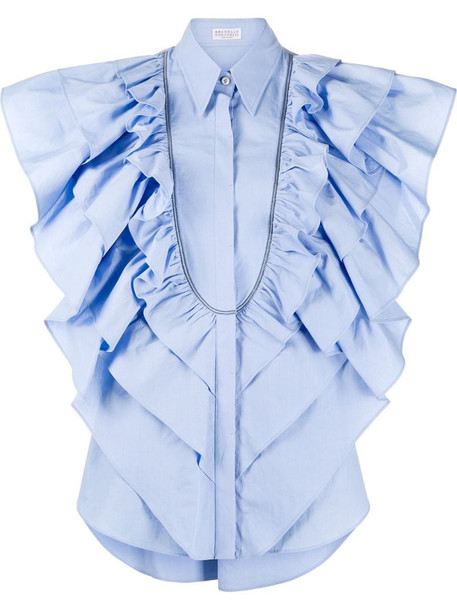 Brunello Cucinelli tiered-ruffle sleeveless blouse in blue