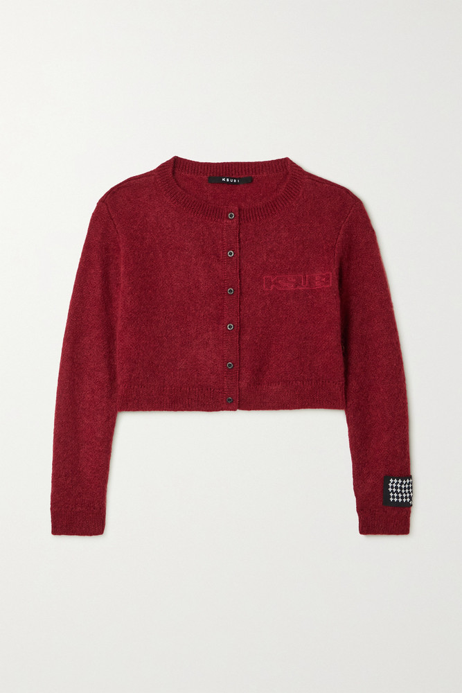 Ksubi - Sign Of The Times Cropped Embroidered Knitted Cardigan - medium in red
