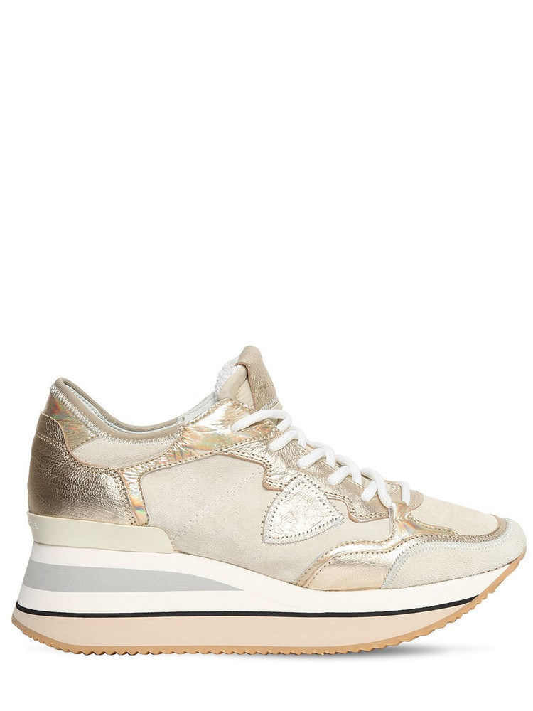 PHILIPPE MODEL Triomphe Daim Sneakers in gold / rose