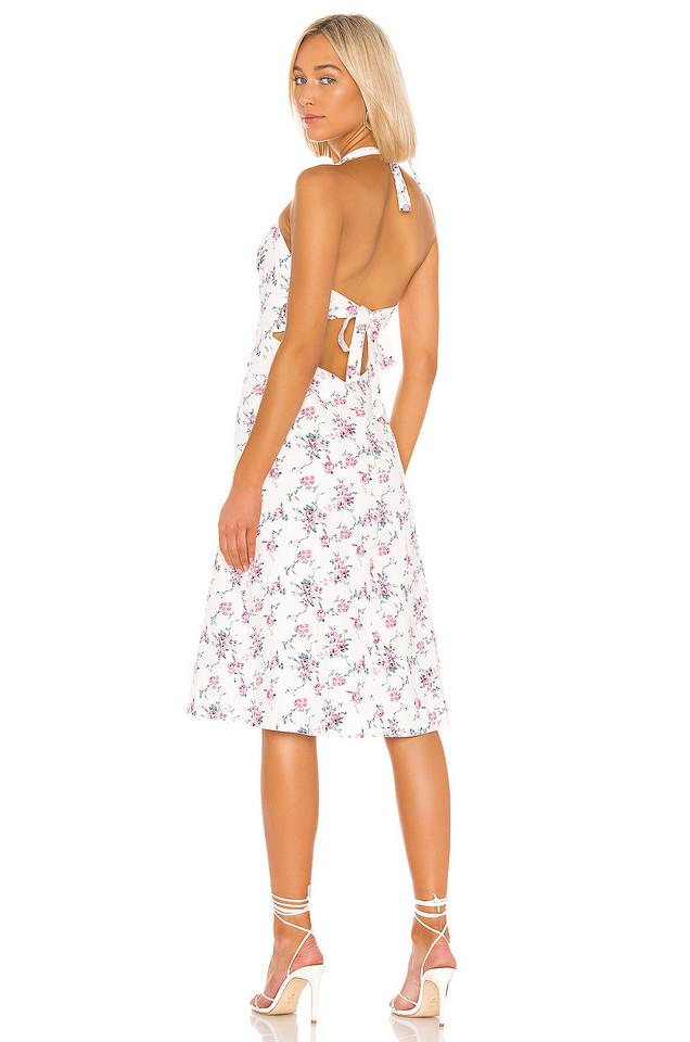 LPA Square Neck Tie Back Dress in white
